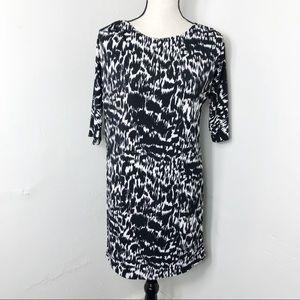 Ann Taylor Black White Print Boatneck Shift Dress
